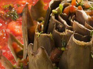 Alcachofras ao molho de tomate e alho