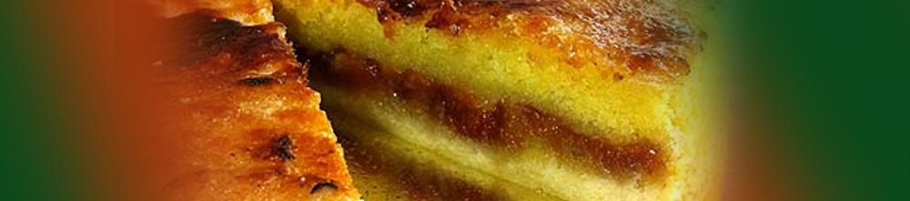 Torta brulée de fubá cremoso e goiabada cascão